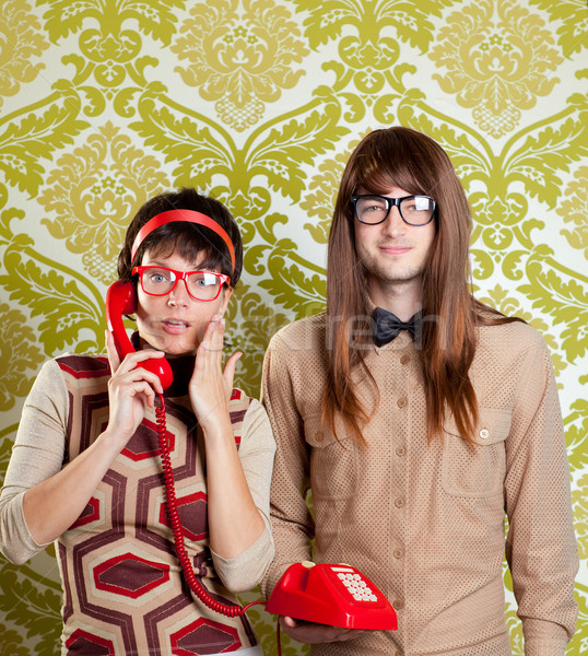 nerd humor couple talking vintage red phone Stock photo © lunamarina