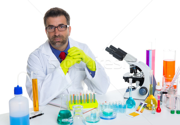 Stock photo: chemical laboratory scientist man working portrait