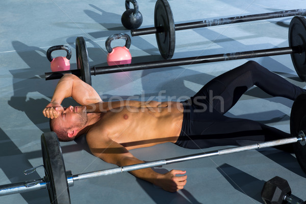 crossfit man tired relaxed after workout Stock photo © lunamarina