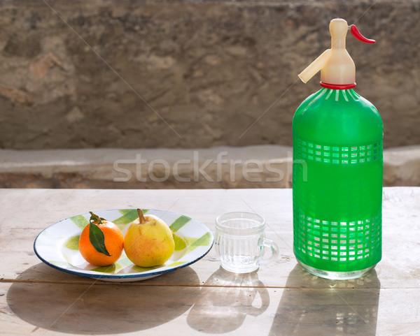 果物 タンジェリン 梨 ヴィンテージ 皿 ソーダ ストックフォト © lunamarina