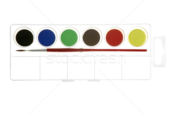 Stock photo: watercolors new box with brush