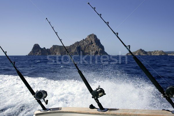 Blue Mediterranean fishing boat rod and reels Stock photo © lunamarina