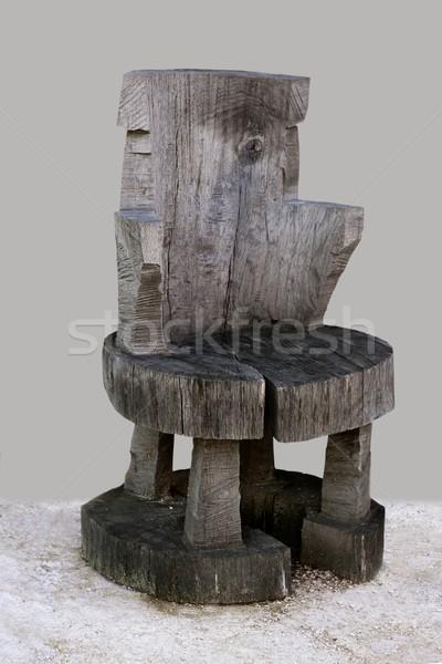 Anciennt rustic handcraft wooden chair Stock photo © lunamarina
