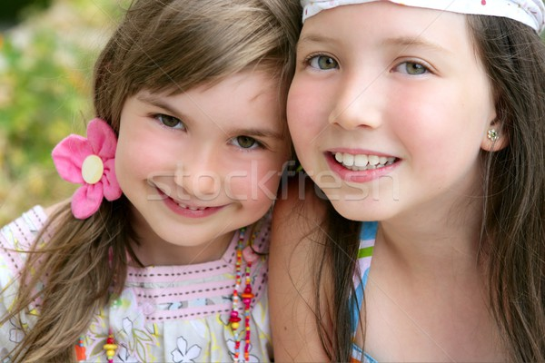 closeup portrait of two little girl sisters Stock photo © lunamarina