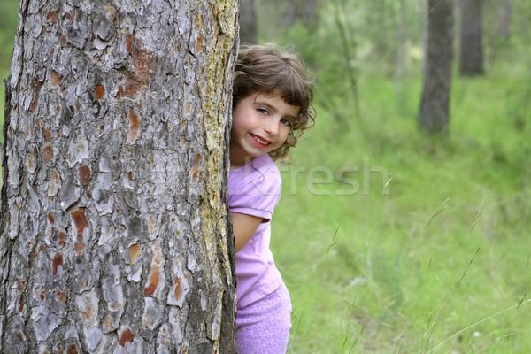 little girl hide park tree trunk green outdoor Stock photo © lunamarina