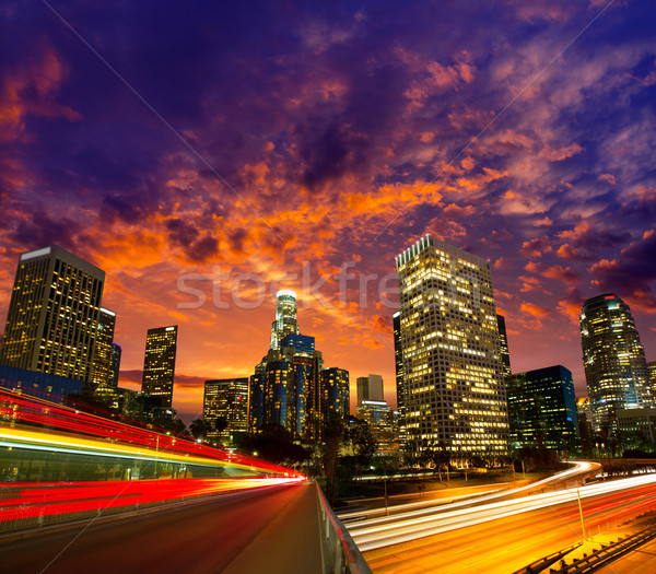 Centrum la nacht Los Angeles zonsondergang skyline Stockfoto © lunamarina
