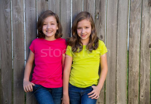 Gêmeo irmãs diferente penteado posando madeira Foto stock © lunamarina