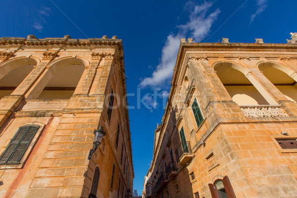 Stockfoto: Geboren · centrum · stad · bouw · zomer · Blauw