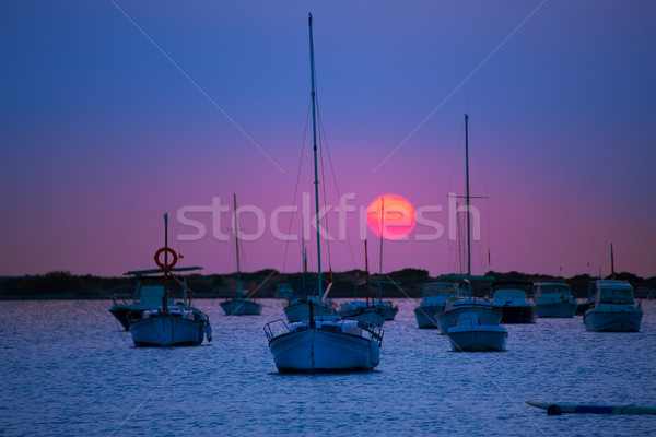Stock photo: Formentera sunset at Estany des Peix lake