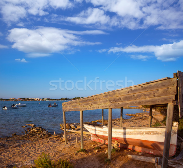 Beached boat in Estany des Peix at Formentera Balearic Stock photo © lunamarina
