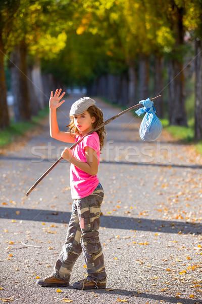 Weinig kid stick zak meisje gezegde Stockfoto © lunamarina