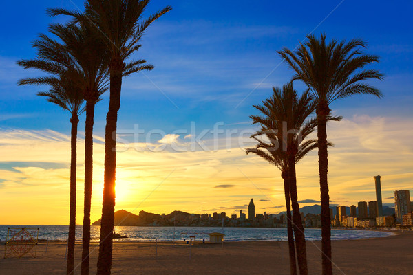 Benidorm Alicante playa de Poniente beach sunset in Spain Stock photo © lunamarina