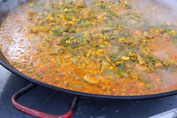 Főzés tipikus Valencia Spanyolország recept rizs Stock fotó © lunamarina