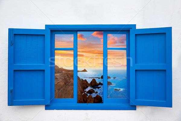 Almeria view from blue window of Cabo de Gata Stock photo © lunamarina