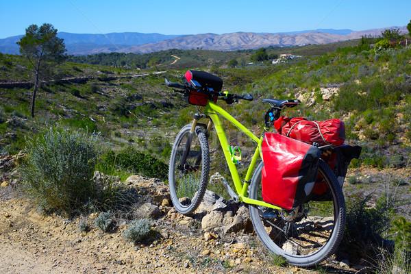 cycling tourism MTB bike in Pedralba Valencia with panniers Stock photo © lunamarina