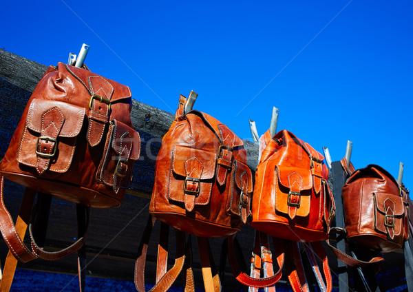 モロッコ 革 ブラウン 工芸 袋 屋外 ストックフォト © lunamarina