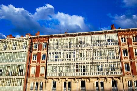 Burgos facades in Rey San Fernando square Stock photo © lunamarina