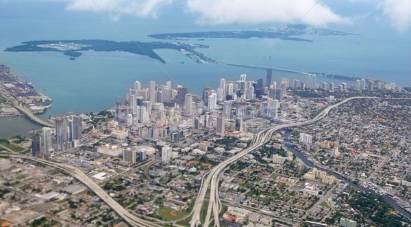 Miami city Downtown aerial view  blue sea Stock photo © lunamarina