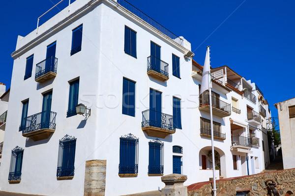 Espanha branco edifício rua verão azul Foto stock © lunamarina