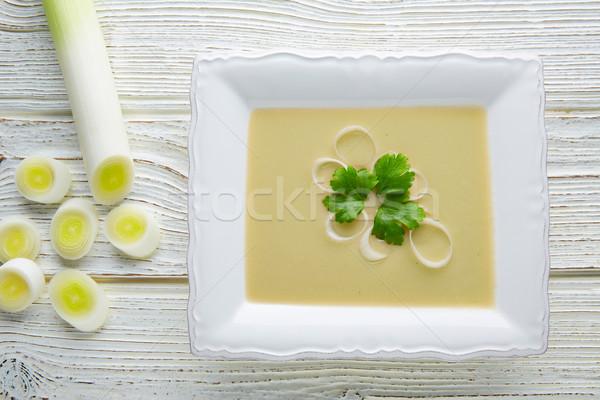 Creme sopa branco madeira mesa de madeira comida Foto stock © lunamarina