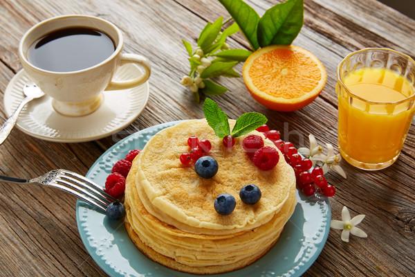 pancakes breakfast syrup coffe and orange juice Stock photo © lunamarina