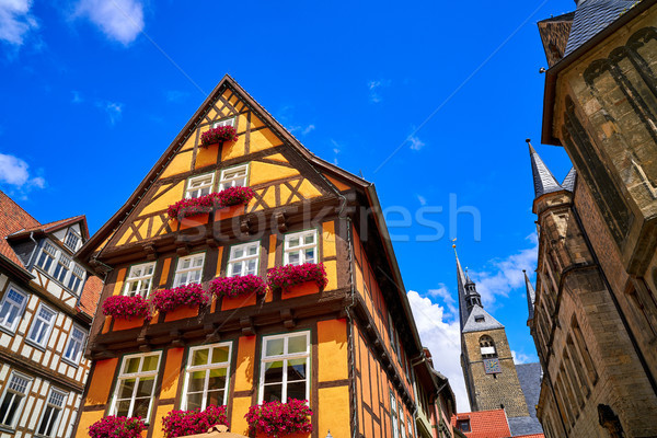 Quedlinburg city facades in Harz Germany Stock photo © lunamarina