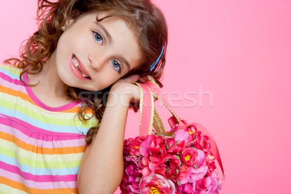 children girl holding fashin spring pink flowers bag Stock photo © lunamarina