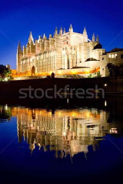 Cathedral of Palma de Mallorca La Seu night view Stock photo © lunamarina