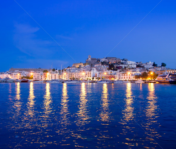 Ibiza island night view of Eivissa town Stock photo © lunamarina