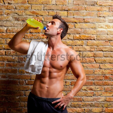 muscle boxer shaped man with fist bandage Stock photo © lunamarina