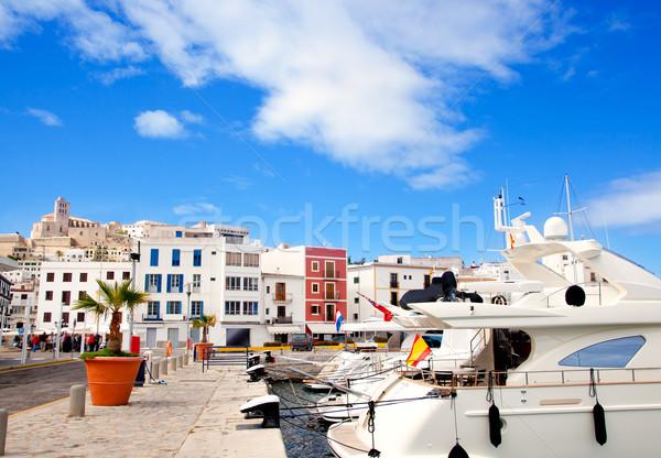 Eivissa Ibiza town with church under blue sky Stock photo © lunamarina