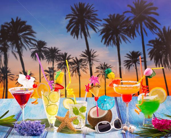 Photo stock: Coloré · beaucoup · tropicales · cocktails · bleu · bois