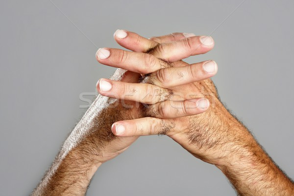 Poilue homme main gris mains Photo stock © lunamarina