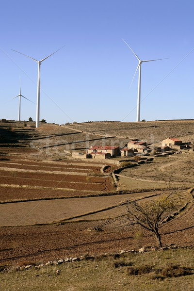 Foto stock: Elétrico · energia · fornecer · pequeno · rural · aldeia