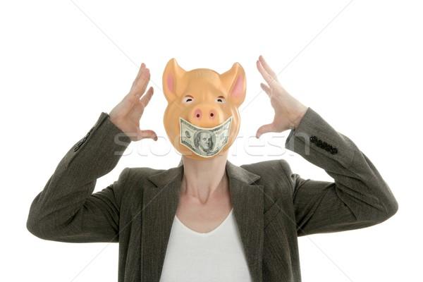 Woman with swine face, dollar note mask Stock photo © lunamarina