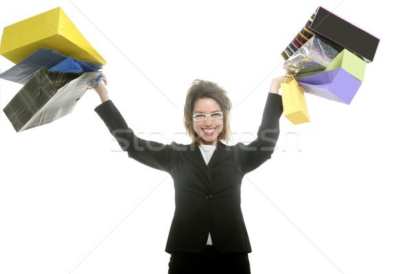 Shopaholic woman with colorful shopping bags hands Stock photo © lunamarina