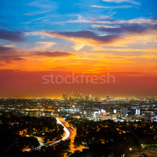 Photo stock: Centre-ville · la · nuit · Los · Angeles · coucher · du · soleil · Skyline