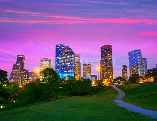Photo stock: Houston · Texas · modernes · Skyline · coucher · du · soleil · crépuscule