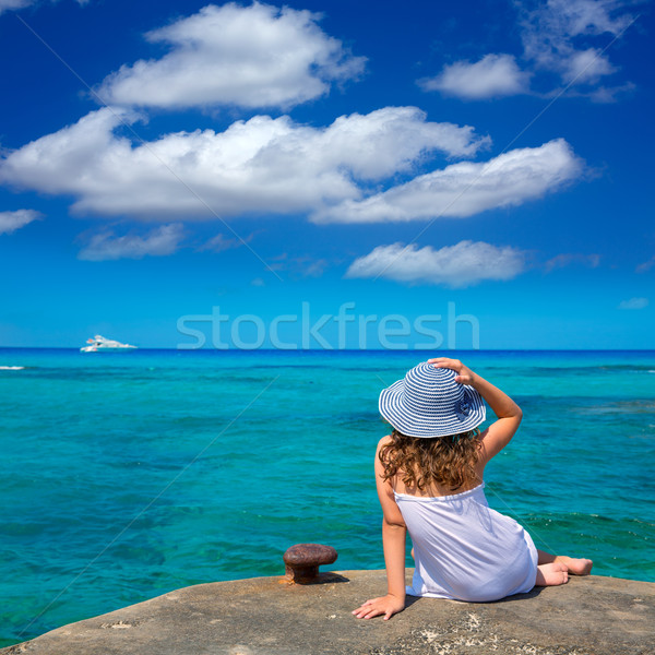 Girl looking at beach in Formentera turquoise Mediterranean Stock photo © lunamarina