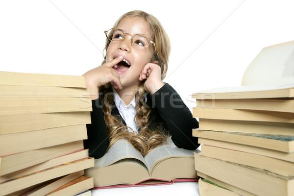 Stock fotó: Kicsi · gondolkodik · diák · szőke · lány · szemüveg