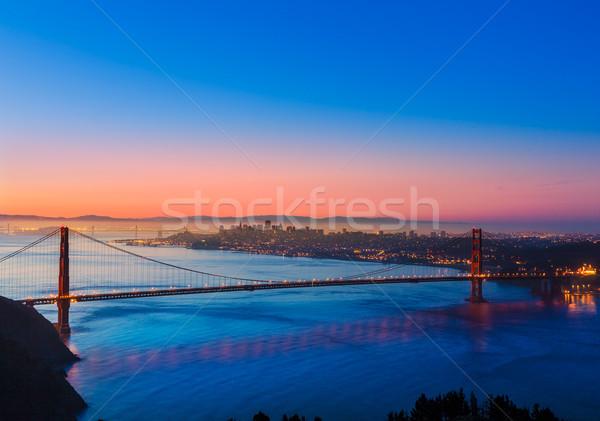 Golden Gate Bridge San Francisco nascer do sol Califórnia EUA céu Foto stock © lunamarina