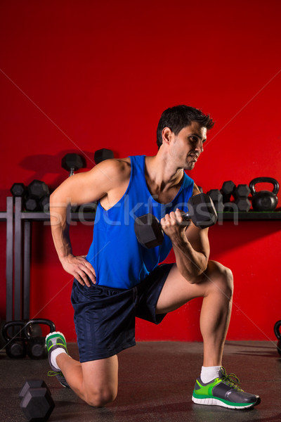 ストックフォト: ダンベル · 男 · トレーニング · 赤 · ジム · 階