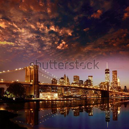 Híd naplemente New York Manhattan sziluett NY Stock fotó © lunamarina
