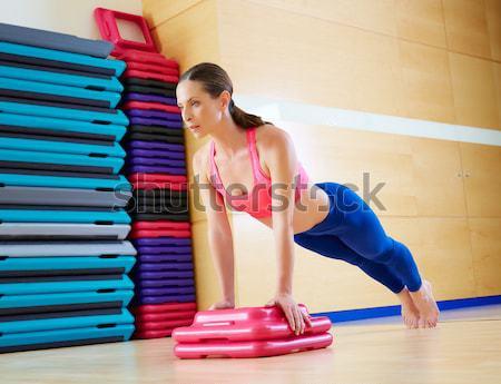 Pilates nő hableány stabilitás labda testmozgás Stock fotó © lunamarina