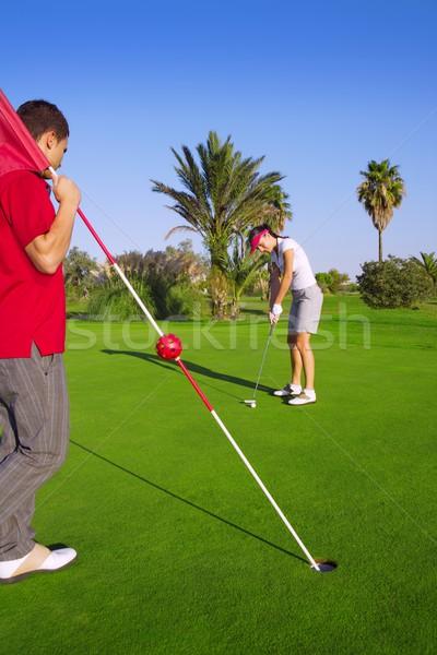 Foto d'archivio: Golf · donna · palla · uomo · bandiera · giocatore