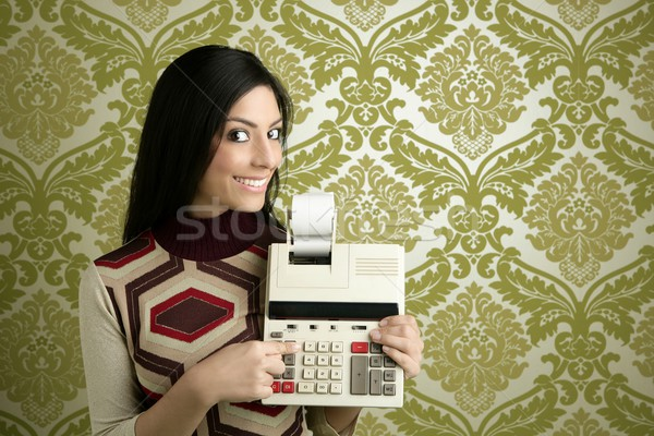 retro accountant woman calculator wallpaper Stock photo © lunamarina