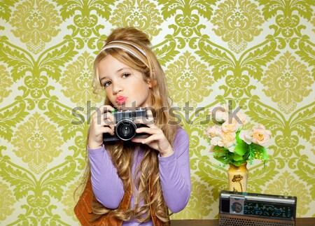 Mode photographe rétro caméra journaliste femme Photo stock © lunamarina