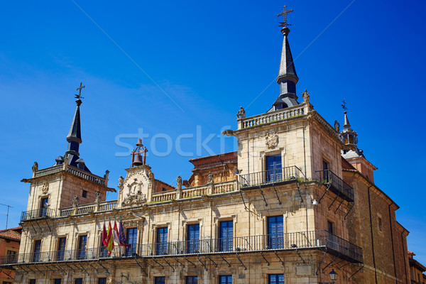 Leon city hall ayuntamiento in Plaza Mayor square Stock photo © lunamarina