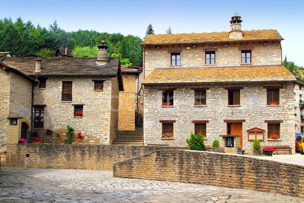 Santa Cruz Seros square Pyreness village stone Stock photo © lunamarina