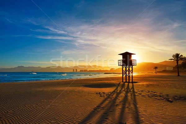 Praia pôr do sol Valência mediterrânico Espanha água Foto stock © lunamarina